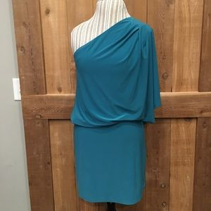 Jessica Simpson One Shoulder Teal Dress Medium EUC